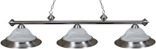 Ozone Brushed Chrome Pool Table Light with Glass Shades