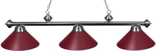 Ozone Brushed Chrome Pool Table Light with Bugundy Shades