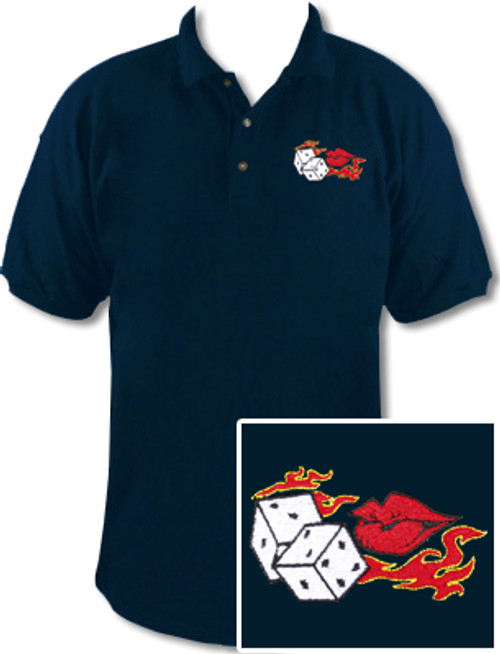 Ozone Billiards Flaming Dice Kiss Polo Shirt - Navy - Free Personalization