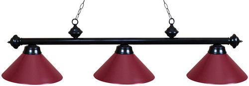 Ozone Black Pool Table Light With Burgundy Shades