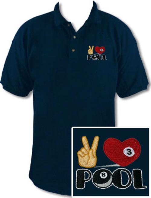Ozone Billiards Peace Love Pool Navy Polo Shirt - Free Personalization