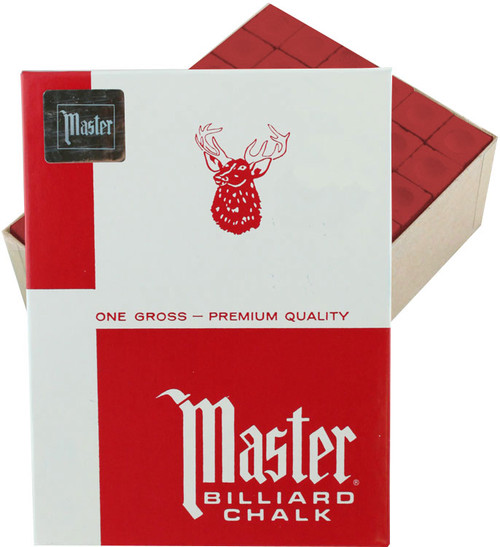 Master Pool Cue Chalk - Gross 144 Pieces - Red