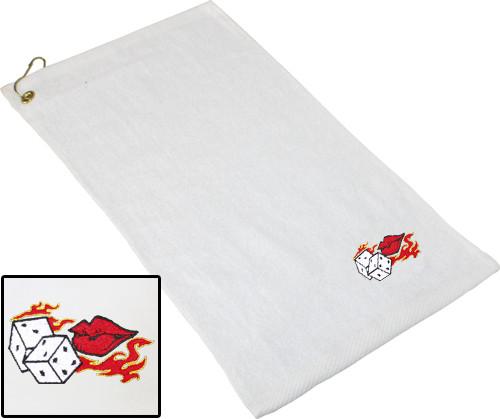 Ozone Billiards Flaming Dice Towel - White - Free Personalization