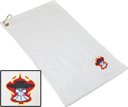 Ozone Billiards Gambling Outlaw Towel - White - Free Personalization