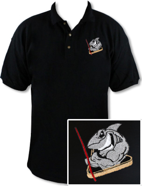 Ozone Billiards Pool Shark Polo Shirt - Black - Free Personalization