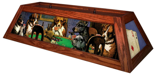 Poker Dogs Pool Table Light Cherry Stain