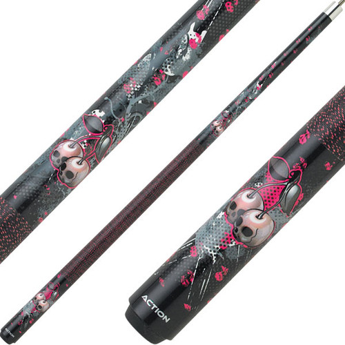 Eight Ball Mafia Cues by Action, Cherry Skulls Black & Pink