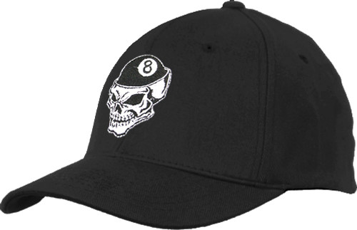Ozone Billiards 8 Ball Skull Hat - Black - Free Personalization