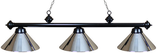Ozone Black Pool Table Light with Chrome Shades