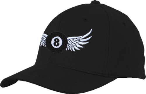 Ozone Billiards 8 Ball Wings Hat - Black - Free Personalization