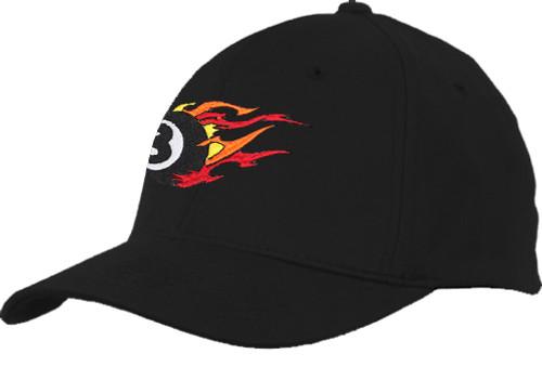 Ozone Billiards Fire 8 Ball Hat - Black - Free Personalization