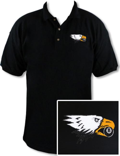 Ozone Billiards Screaming Eagle Black Polo Shirt - Free Personalization
