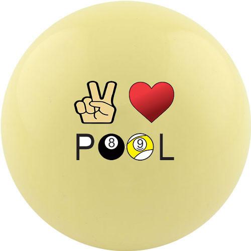 Custom Cue Ball - Peace Love Pool