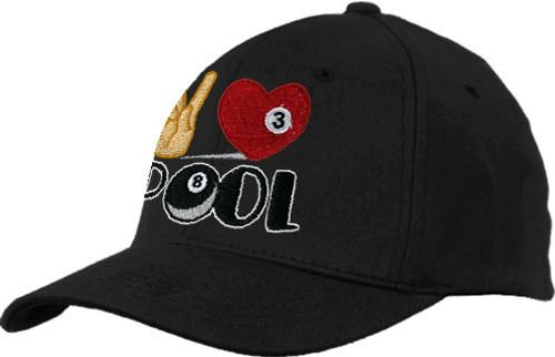 Ozone Billiards Peace Love Pool Hat - Black - Free Personalization