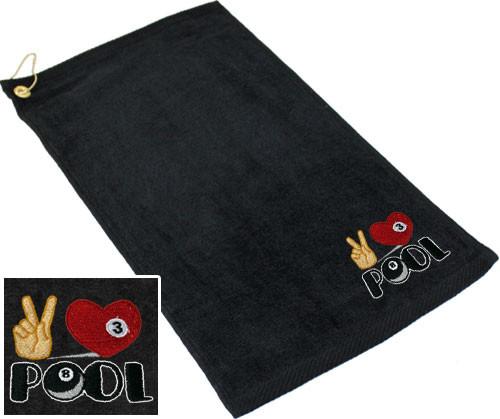 Ozone Billiards Peace Love Pool Towel - Black - Free Personalization