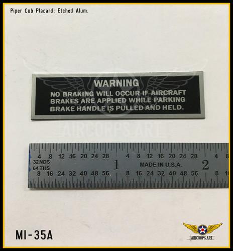 Actual placard