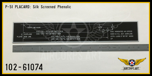 P/N - 102-61074 - PLATE - WING FIXED GUN BORE SIGHTING DIAGRAM NAME