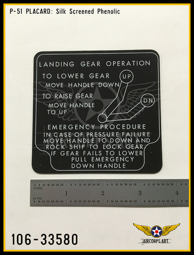 P/N - 106-33580 - PLATE - HYDRAULIC & LANDING GEAR CONTROL INSTRUCTIONS