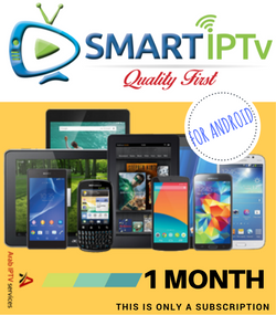 SMARTIPTV  For Android Phone  and Tablet  (1 Months Subscription)