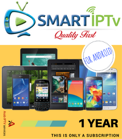 SMARTIPTV  For Android Phone  and Tablet  (1 year Subscription)