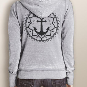 Women's Full-Zip Hooded Fleece - WaterGirl Blossom Anchor