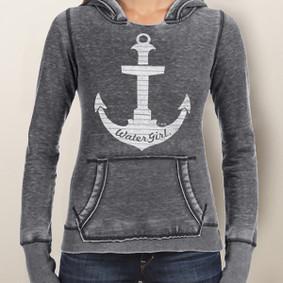 Women's Hoodie - WaterGirl Pinstripe Anchor Burnout