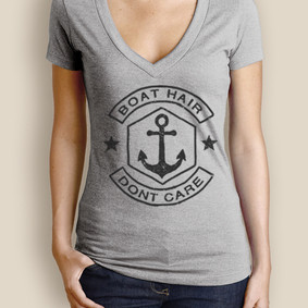 Women's Boating T-Shirt - WaterGirl Boat Hair Deep V