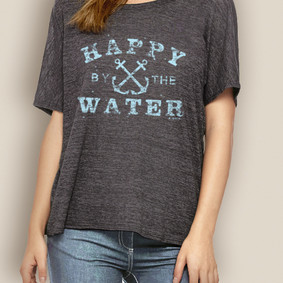 Women's Boating Relaxed Tee- WaterGirl Happy by the Water