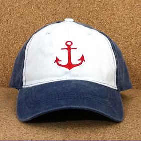 Nautical Hat by WaterGirl- Distressed Red Anchor Ball Cap