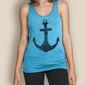 Boating Tank Top-  Sale American Apparel Longer Anchor Tank