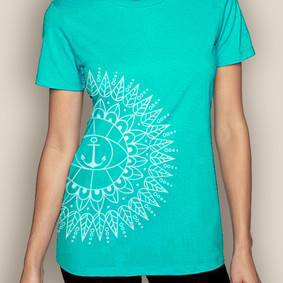 Women's Boating T-Shirt- Bohemia Sun Crew Neck