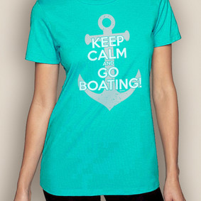 Women's Boating T-Shirt- Keep Calm Crew Neck