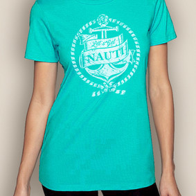 Women's Boating T-Shirt- Get Nauti Crew Neck
