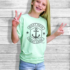 Youth Short- Sleeve- Boat Hair Don't Care