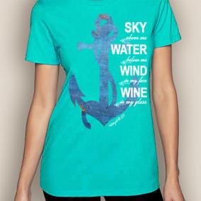 Women's Boating T-Shirt- Sky, Water, Wind Crew