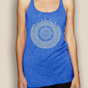 Boating Tank Top - WaterGirl Royal Compass Lightweight Racerback