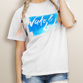 Girl's Wake & Lake Watercolor -Comfort Colors Tee