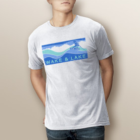 Guy's Wake & Lake Board-Comfort Colors Tee  (More Color Choices)