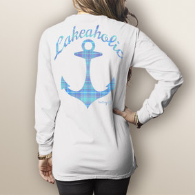 Watergirl Lakeaholic Plaid- Comfort Colors Long Sleeve Pocket Tee