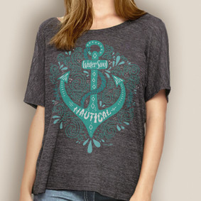 Women's Boating Relaxed Tee- WaterGirl Bohemian Anchor