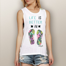 Life is Better in Flip Flops (Flower Only Design) -  Muscle Tank (more color choices)
