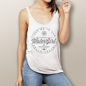 Wanderlust-  Flowy Side Slit Tank (more color choices)