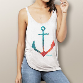Fishnet Anchor -  Flowy Side Slit Tank