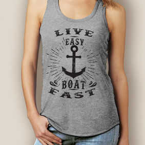 Live Easy Boat Fast Signature Tri-Blend Racerback (More Color Choices)