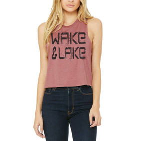Wake & Lake Black Grunge Text  -  Crop Muscle Tank (more color choices)
