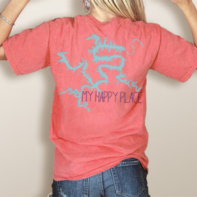 My Happy Place LOTO (or Your Custom Lake)-Comfort Colors UNISEX Pocket Tee (More Color Choices)