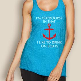 Boating Tank Top - WaterGirl Outdoorsy Lightweight Racerback
