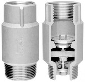 "Stainless Steel Submersible Check Valve with 1 1/4"" Male X 1 1/4"" Female"