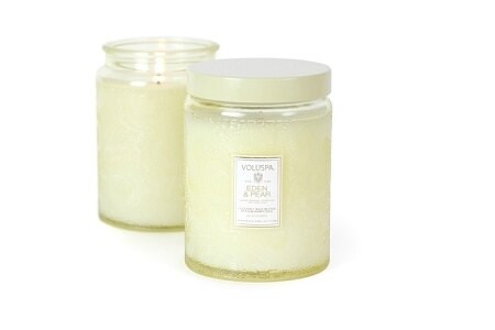 Voluspa Eden & Pear Large Embossed Jar Candle