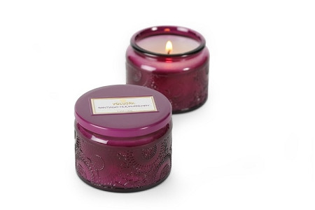 Voluspa Santiago Huckleberry Small Embossed Jar Candle